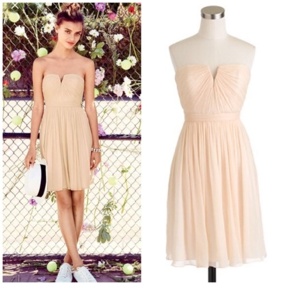 f4164ad8481 J. Crew Nadia Silk Chiffon Strapless Ivory Dress